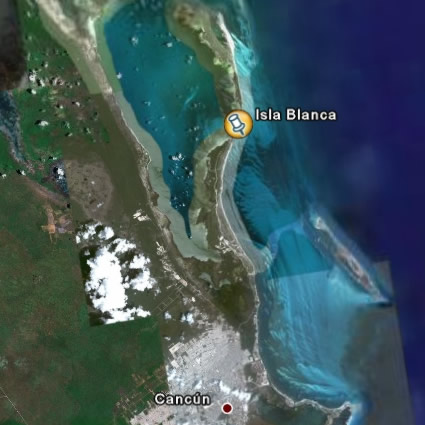 Google Earth image of Isla Blanca