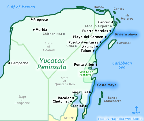 Map of Yucatan showing Cancun, Playa del Carmen, Riviera Maya and Costa Maya